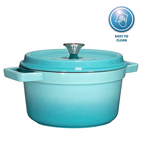 Bruntmor, Enameled Cast Iron Dutch Oven Casserole Dish 6.5 quart Large Loop Handles & Self-Basting Condensation Ridges On Lid (Turquoise)