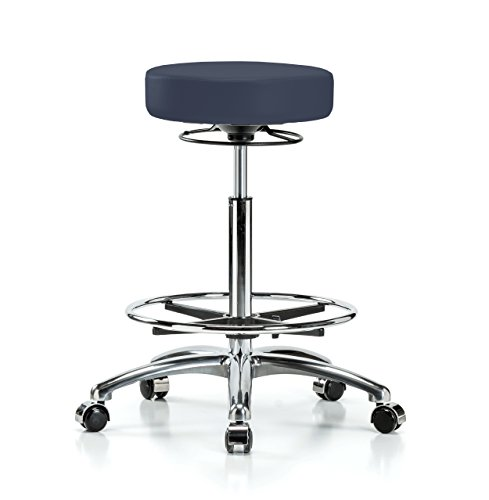 Cheap PERCH Chrome 360 Degree Rolling Adjustable Massage Therapy Swivel Stool for Hardwood or Tile | Counter Height with Footring | 300-Pound Weight Capacity | 12 Year Warranty (Imperial Blue Vinyl)