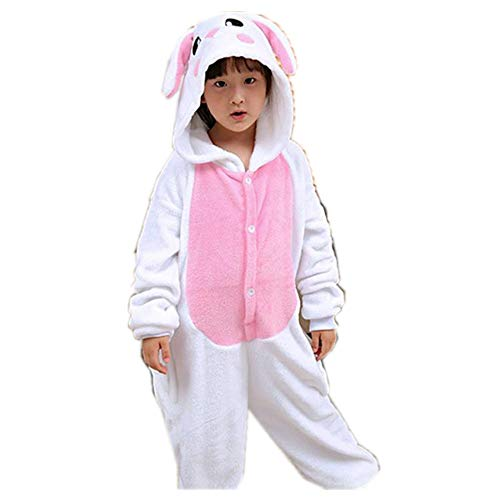 Kids White Rabbit Animal Costume - Childrens Plush One Piece Pajamas(pink-105-for Height(114-122 cm)) -