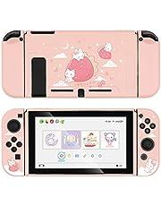 GeekShare skyddsfodral för switch, mjukt TPU-skalfodral som är kompatibelt med Nintendo Switch-konsolen och Joy-Con (Strawberry Bunny)