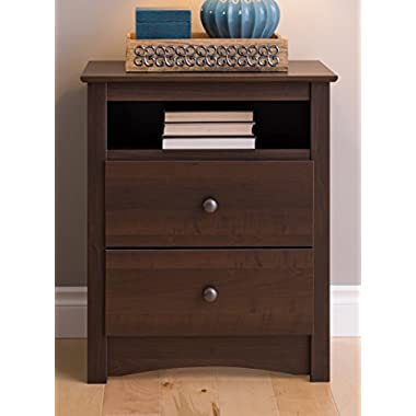 Prepac EDC-2428 Fremont 2 Drawer Nightstand with Open Shelf, Espresso, Tall