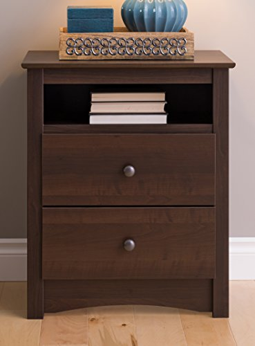Prepac Fremont 2 Drawer Nightstand with Open Shelf, Espresso, Tall (Bedside Table Wood)