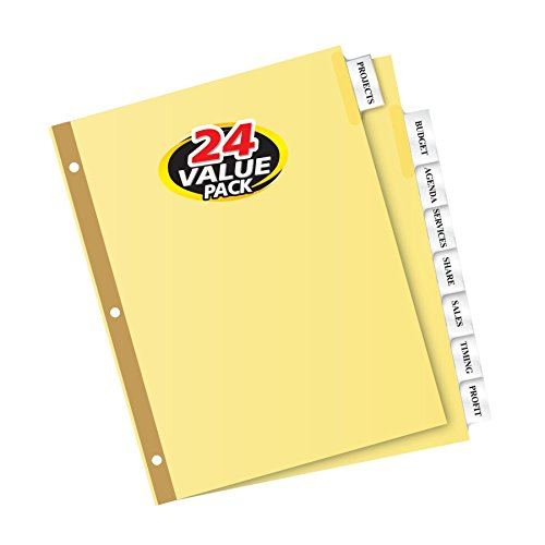 Tab Buff Insertable Dividers, 8.5 x 11 Inches, 8 Tab, Clear Tab, Laser/InkJet, 24 Sets (11115) (Insertable Tab)