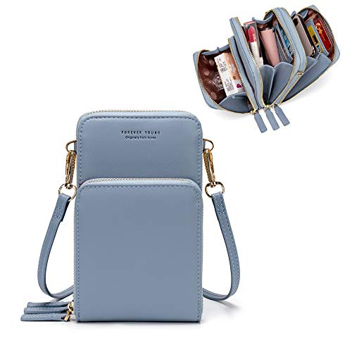Kingto Small Leather Crossbody Cellphone Shoulder Bag for Women, Smartphone Wallet Purse with Removable Strap for Travel (A-light blue) (The Best Travel Purse)
