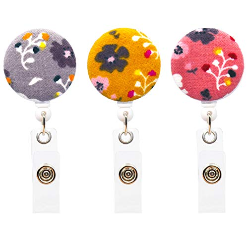 Ascrafter Flower Retractable Name Card Badge Holder with Alligator Clip, ID Badge Reel Clip On Card Holders, 3 Pack