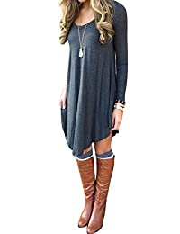 Women's Long Sleeve Casual Loose T-Shirt Dress 10 Colors Plus Size