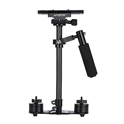 Andoer SY-JQ06 Pro 24 Inch / 60cm Handheld Carbon Fiber Stabilizer with Quick Release Plate and Clamp Base for Canon Nikon Sony DSLR Cameras Lightweight Camcorders Max Load 3kg