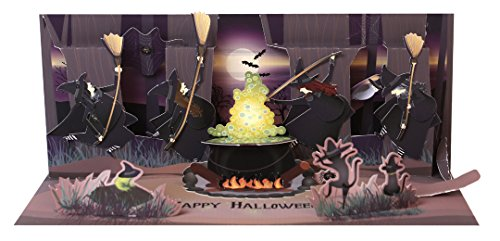 Up With Paper Pop-Up Panoramics Sound Halloween Greeting Card - Full Moon Witches -