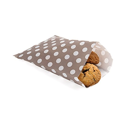 Dot Bags Grey - Disposable Paper Bags, Cookie Bags, Deli Bags, Bakery Bags - Grey with White Polka Dots - 7