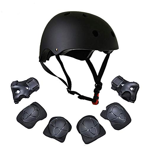 Warm House Kids Toddler Protective Gear and Helmet Sets,3 to 8 Years Old Kids Helmet and Pads Set[Knee Pads,Wrist Pads and Elbow Pads] for Skateboarding, Skating, Scooter, Cycling (Back)