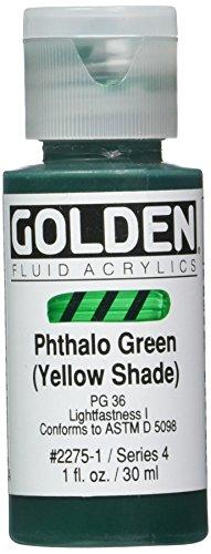 Golden Fluid Acrylics - Pthalo Green (Yellow Shade) - 1 oz Bottle