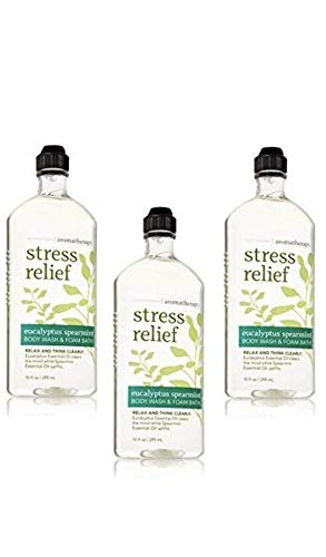 Bath & Body Works Aromatherapy Eucalyptus Spearmint Stress Relief Body Wash & Foam Bath, 10 fl oz per Bottle (3 Pack) (Body Wash Bath And Body Works)