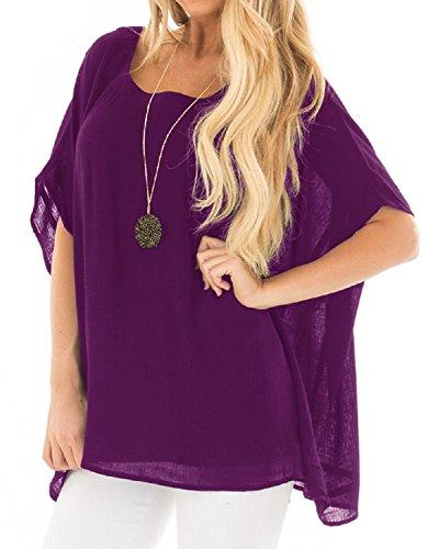Cnfio Womens Chiffon Blouse Short Batwing Sleeve Top Summer Oversized Shirts Purple L