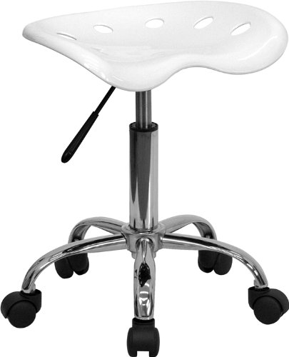 Flash Furniture Vibrant Chrome Adjustable Bar Stool in White LF-214A-WHITE-GG