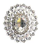 Oversized Swarovski Crystal Shield Style Brooch / Pin in Silver by Krystal London