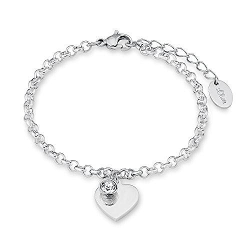 s. Oliver Damen-Armband Herz gravurfähig Edelstahl Kristall weiß Rundschliff 20 cm - 540162