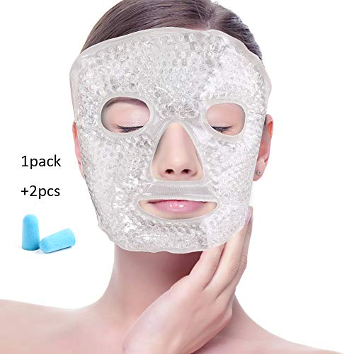 Foam Hot (Face Eye Mask Ice Pack with Foam Earplugs,Reduce Puffiness, Bags Under Eyes, Puffy Dark Circles,Hot/Cold Pack with Soft Plush Backing for Woman Sleeping, Pressure, Headaches, Skin Care [White])