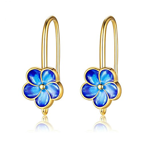 (Uloveido Peacock Blue Cloisonné Enamel Boho Unique Flower Earrings Charm Dang Drop Gold Plated Earrings Perfect Gift for Women CQ248-GOLD)