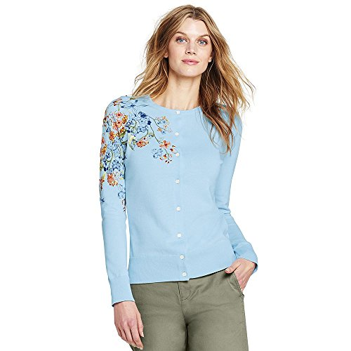 Lands' End Women's Tall Supima Embroidered Cardigan Sweater, M, Subtle Blue Placed Floral (Supima Ribbed)