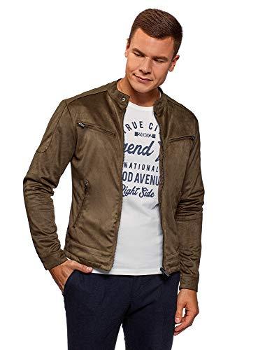 oodji Ultra Men's Stand Collar Zipper Jacket, Brown, US 40 / EU 50 / M -