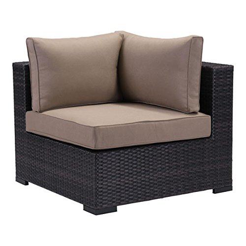 Zuo Modern Boca Grande Corner Chair, Brown/Beige