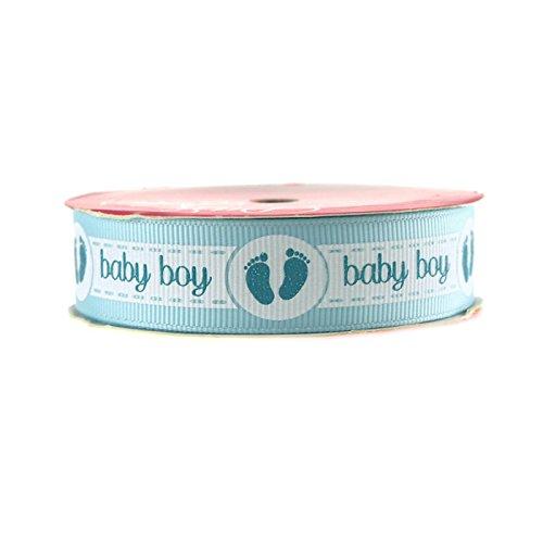 Homeford FMX750205602 Baby Girl Baby Boy with Footprint Grosgrain 3 yd Ribbon, 7/8