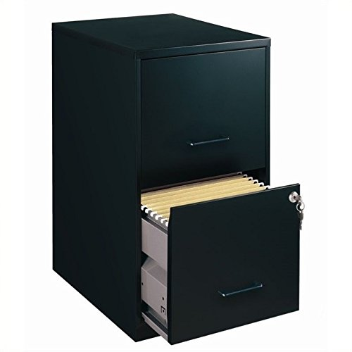 Lorell 14341 18 Deep 2-Drawer File Cabinet, Black File Cabinet With Lock