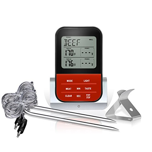 Digital Cooking Meat Thermometer Instant Read Food Thermometer with Clock Timer Mode for Smoker Oven Grilling BBQ Thermometer -LCD Backlight,Dual Long Probe