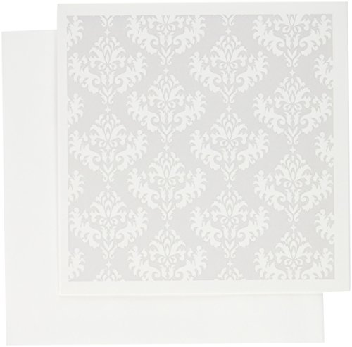 3dRose Silver - Grey - Gray and White Damask Pattern - Classic Classy Elegant and Stylish - Greeting Cards, 6 x 6 inches, set of 12 ()