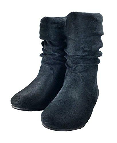 vivace Girls Zulu-Jr Slouch Flats Boot (12, Black) by Link N vivace