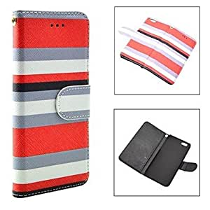 PEACH Fashion Multicolor Lattice Pattern PU Leather Full Body Cover with Card Solt Cave for iPhone 6