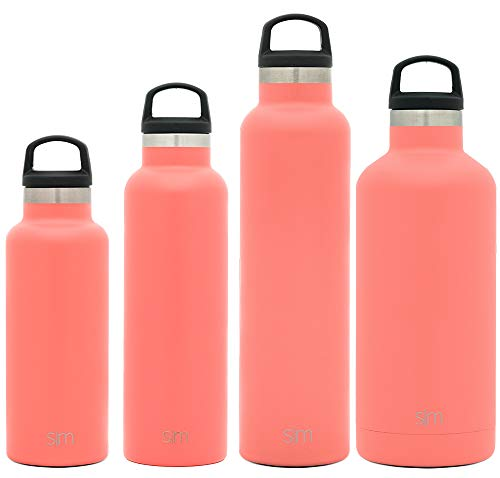 Simple Modern 32oz Ascent Water Bottle - Stainless Steel Hydro Swell Flask w/Handle Lid - Metal Double Wall Vacuum Insulated Orange Reusable Tumbler Aluminum 1 Liter Cold Leak Proof - Honolulu -  ASC-32-HLU