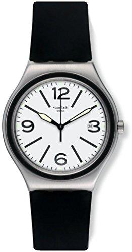 White Dial Black Silicone - Swatch Noir Du Soir White Dial Black Silicone Strap Men'S Watch Yws424