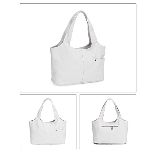 Handbags Canvas Simple Pure Women Pouch Zipper Everpert Casual Soft Bags White Portable xI47qU