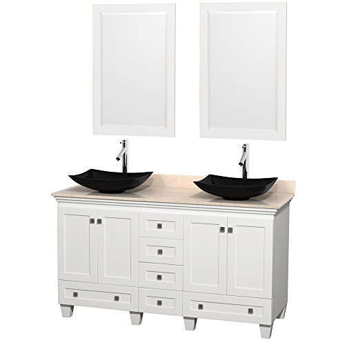 Wyndham Collection Acclaim 60 inch Double Bathroom Vanity in White, Ivory Marble Countertop, Arista Black Granite Sinks, and 24 inch Mirrors