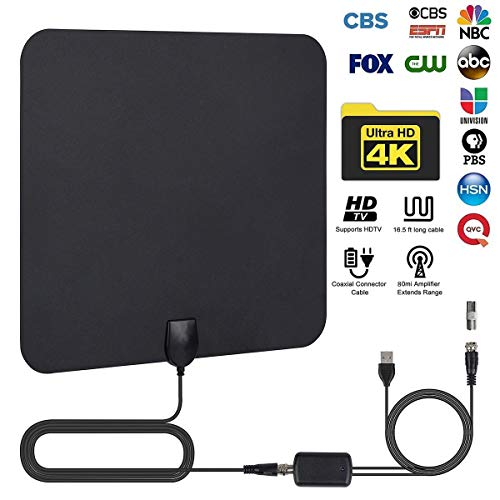 HDTV Antenna,HD Digital TV Antenna Indoor-80 Miles Long Range High-Definition TV Aerial with Amplifier Signal Booster,16.4ft Coax Cable,Support All TV's,1080P 4K Ready