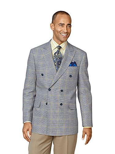 Cotton \ Linen Glen Plaid Sport Coat Navy 42 Long ()