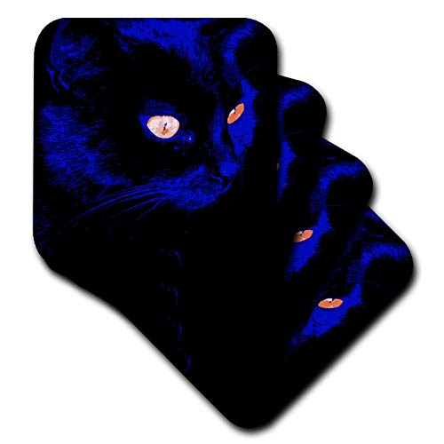 3dRose Taiche - Vector - Black Cat - Hunting At Halloween Stunning Black Cat Vector - set of 4 Ceramic Tile Coasters (cst_298269_3)