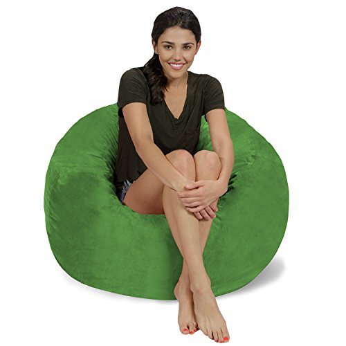 Chill Sack Bean Bag Chair: Large 3' Memory Foam Furniture Bean Bag - Big Sofa with Soft Micro Fiber Cover - Lime Micro Suede