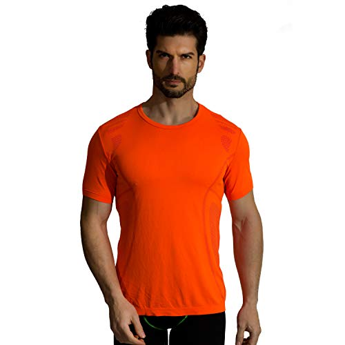 +MD Mens Cool Dry Short Sleeve T-Shirts Moisture Wicking Athletic Graphic T Shirts Crew Neck Workout Shirts Orange Large