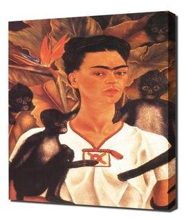 Frida Kahlo - Self Portrait With Monkeys Framed Canvas Art Print Reproduction ()