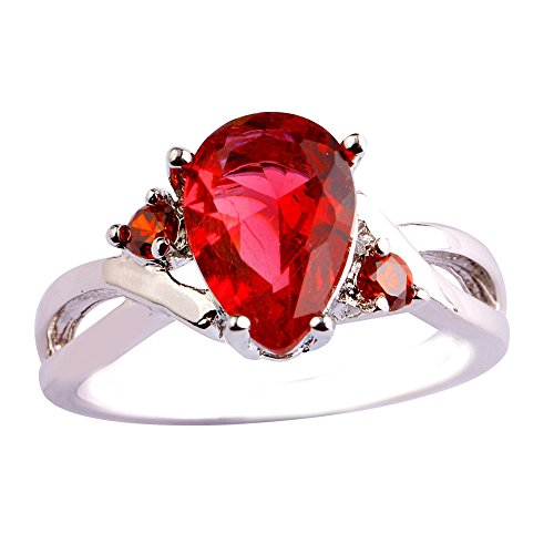 Ruby Swirl Ring (Emsione Ruby Spinel 925 Silver Plated Pear Ring for Women)