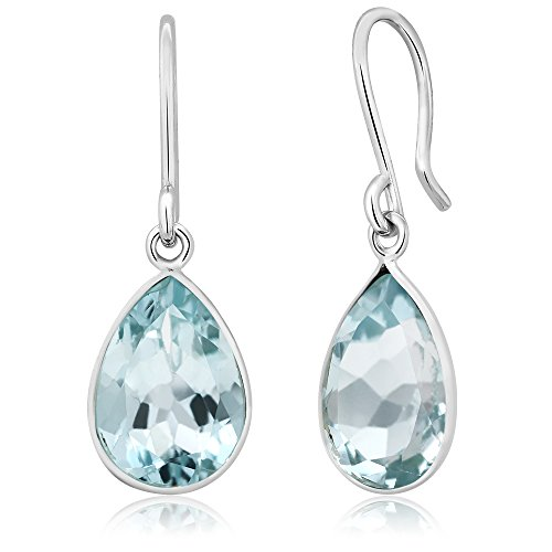 (Gem Stone King Sterling Silver Swiss Blue Topaz Gemstone Birthstone Frenchwire Dangle Earrings (6.00 cttw, 12X9MM Pear Shape))