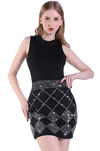 Womens Sparkly Glitter Summer Sleeveless Bodycon Dress Plaid Rhinestone Party Cocktail Clubwear (XL, Black)]()
