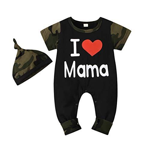 Baby Peuter Mode Camouflage Pak Engels Afdrukken Lange Mouwen Jumpsuit Camouflage Hoed Pak Katoenen Kleding Voor 0-12 M
