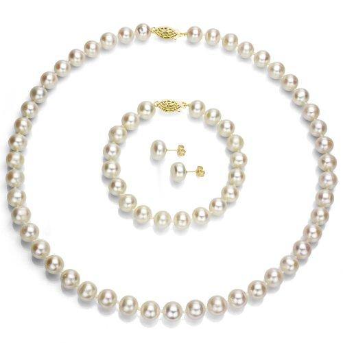 14k Yellow Gold 10-10.5mm White Freshwater Cultured Pearl Necklace 18'', Bracelet 7'', Stud Earrings by La Regis Jewelry