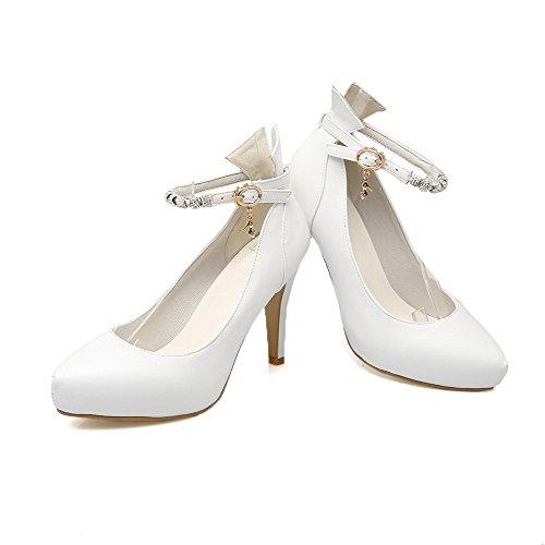Luccichio Ballet Puro Tacco A Bianco Alto Voguezone009 Punta flats Fibbia Donna Scarpe axq7qFB