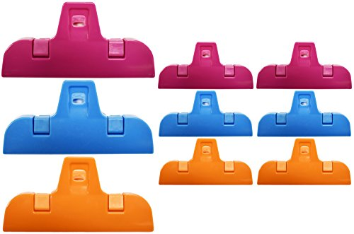 Set of 9 All Purpose Clips 2 Sizes of Colorful Bag Clips, Chip Clips Assorted Colors (9)