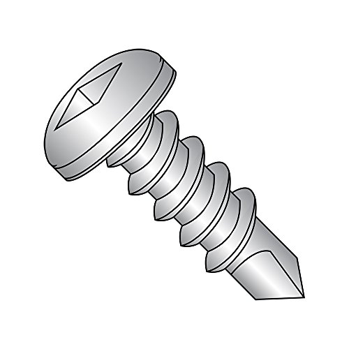 18-8 Stainless Steel Self-Drilling Screw, Plain Finish, Pan Head, Square Drive, #2 Drill Point, #6-20 Thread Size, 1/2