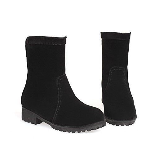 Allhqfashion Mujeres Low-top Cremallera Sólida Redondo Cerrado Dedo Del Pie Low-heels Botas Negro